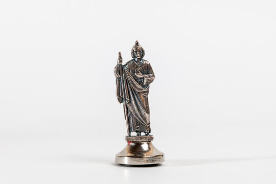 Religious images. Sculpture, statuette of St. Jude Thaddeus on a white background.