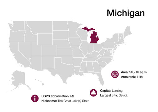 Map of Michigan state with political demographic information and biggest cities