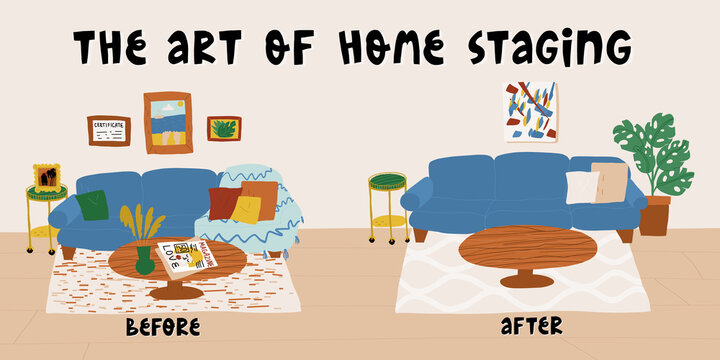 The art of home staging before and after banner template with modern living room furniture, decoration and lettering.