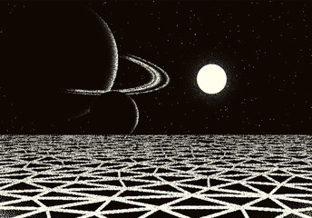 Retro dotwork landscape with 80s styled cracked land, planet with rings and sun on the background from old sci-fi book or poster.