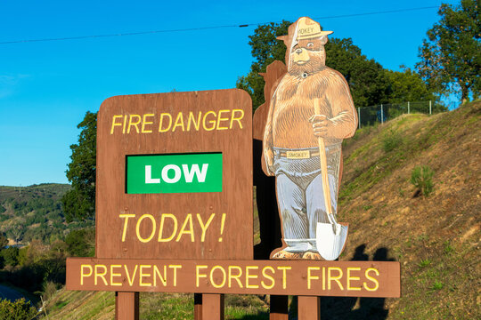 Smokey Bear low fire danger sign is a part of Wildfire Prevention campaign public service advertising campaign - California, USA - January, 2020