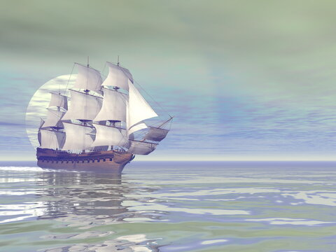 Beautiful detailed old merchant ship by day - 3D render