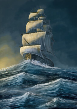 Old ship in the storm