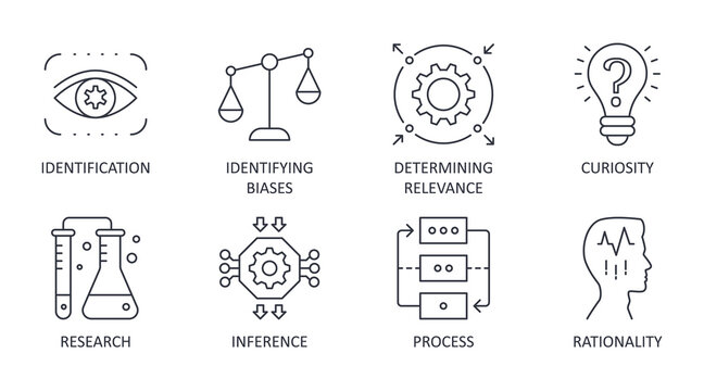 Vector critical thinking icons. Editable stroke. Rationality of process identification research. Curiosity identifying biases inference determining relevance