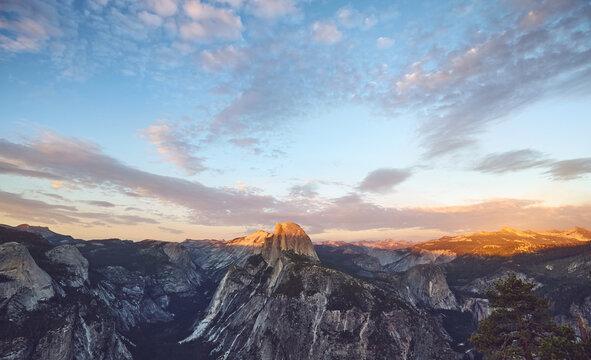 Scenic sunset above Half Dome, Yosemite National Park, USA.