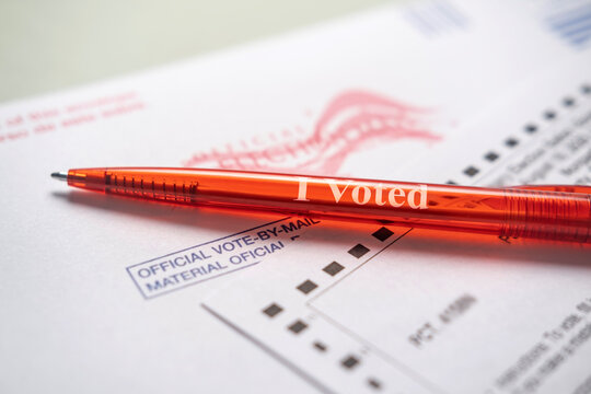 Voting ballot and red pen