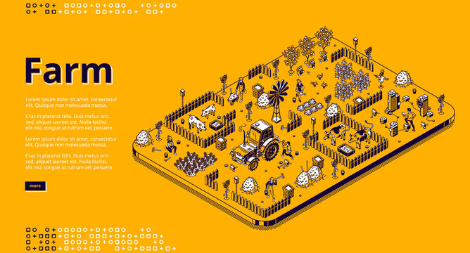 Farm isometric landing page with farmers working in garden or field, people use tractor machinery, feeding pigs or cows, harvesting. Village agriculture, animal husbandry 3d vector line art web banner