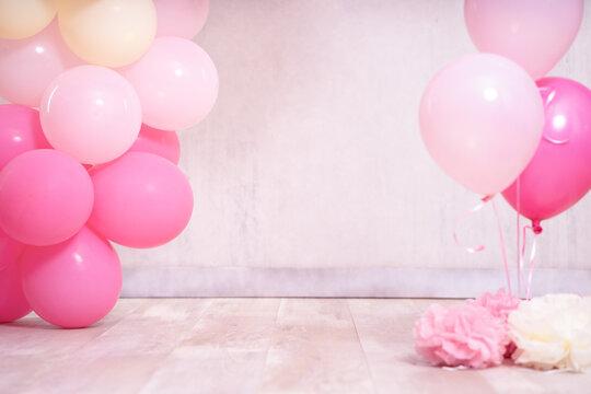 Digitaler Hintergrund rosa gelb Ballons für Geburtstag und cake smash Var. 2