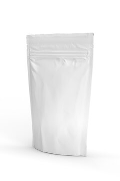 Food pouch mockup isolated on white background - 3d render