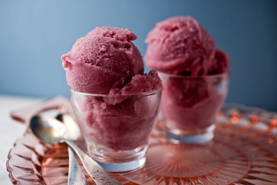 Close up of pear and red wine sorbet in cup
