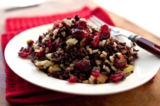 Close up of wild rice and brown rice stuffing with apples, pecans and cranberries served on plate