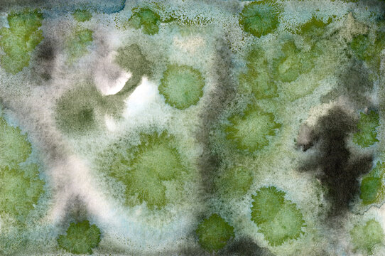 Green moss abstract watercolor