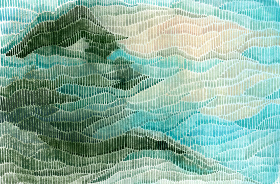 Mountain watercolor abstract landscape