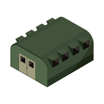 military barracks base camp isometric icon