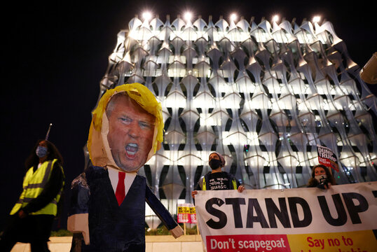 A model of U.S. President Donald Trump is pictured during a demonstration outside the U.S. embassy in London