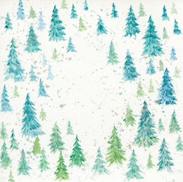 Watercolor firs forest