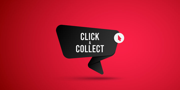 Click & collect vector sign. Vector illustration