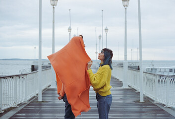 friend with an orange scarf. Fotomurales