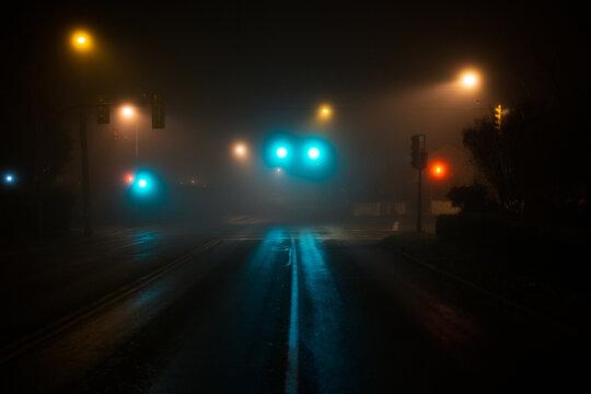 Traffic lights in fog