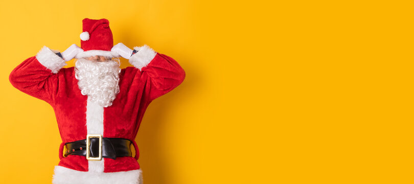 santa claus isolated on background with stress or tired
