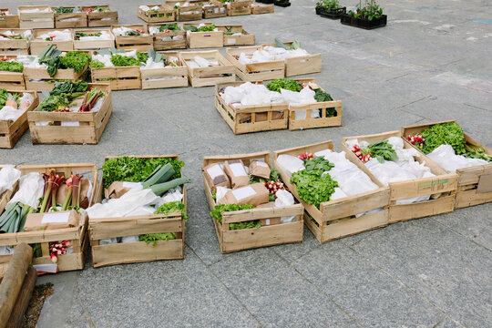 Organic food crates ready for pick-up for quarantined people in Paris