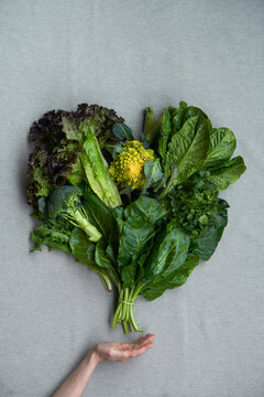 Arranged greens in shape of heart