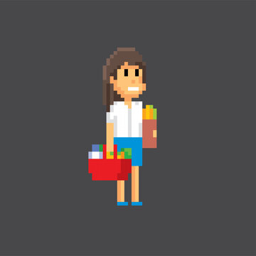 Woman shopper with shopping basket. Pixel art. Old school computer graphic. 8 bit video game. Game assets 8-bit sprite. 16-bit.