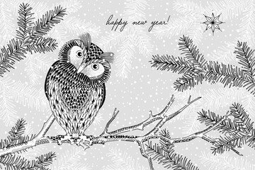 Black and white illustration of a cute owl in winter - Hand drawn Christmas card template - Happy New Year