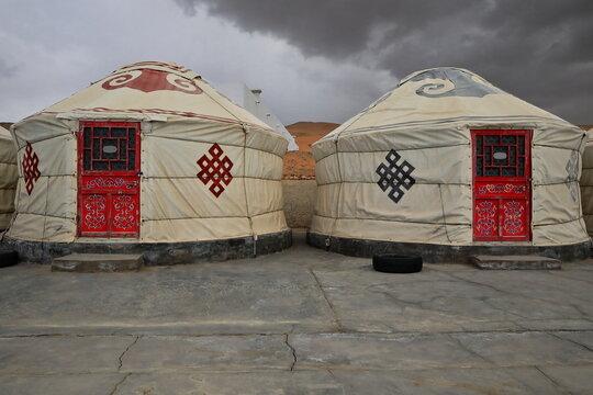 Traditional mongolian gers-yurts for tourist use. Badain Jaran Desert-Inner Mongolia-China-1103