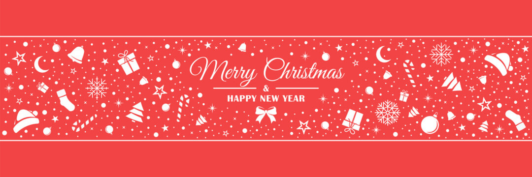 White Christmas figures are arranged in no order. Banner with red background. Christmas pattern in flat style. Vector illustration