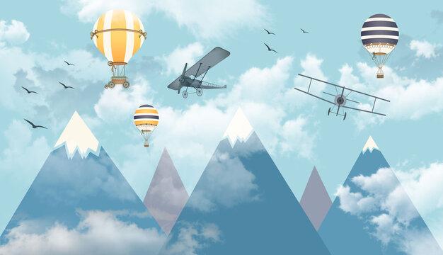blue sky 3d balloons fly
