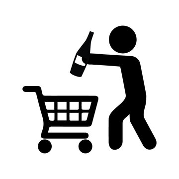supermarket shopping cart with foods sausage and bread apples and drinks orange juice and water bottle and milk carton in color sections silhouette