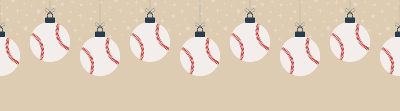 Merry Christmas baseball seamless horizontal pattern. Hang on a thread flat cartoon baseball ball as a Christmas ball on gold horizontal background. Sport Vector illustration.
