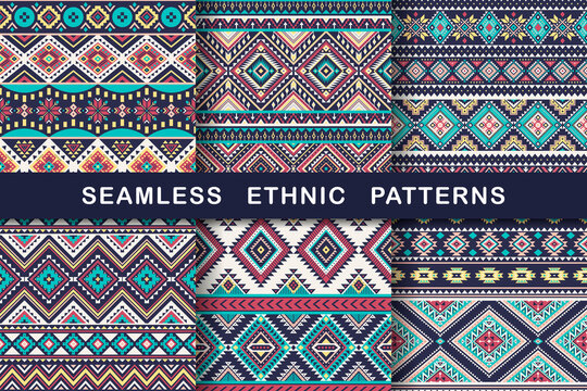 Ethnic seamless patterns. Set of aztec geometric backgrounds. Collection of stylish navajo fabric. Tribal modern abstract vector illustration.