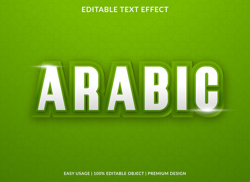 arabic text effect template design with bold font style and 3d concept use for brand and business logo