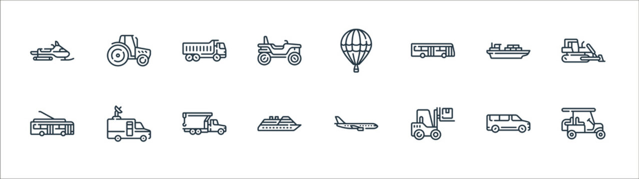 vehicles transportation line icons. linear set. quality vector line set such as golf cart, forklift, cruise, trolleybus, cargo, truck, hot air balloon, tractor.