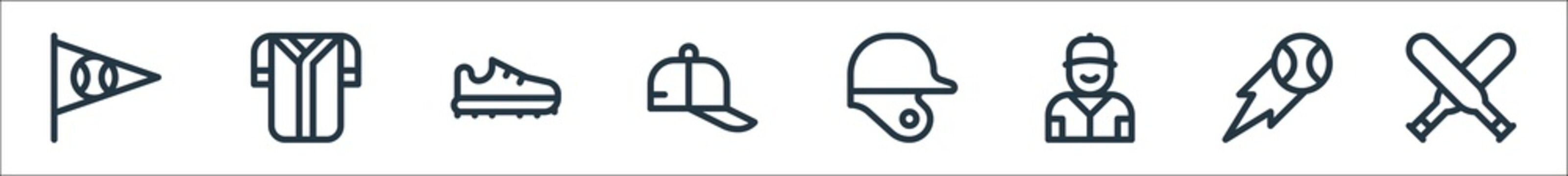 baseball line icons. linear set. quality vector line set such as baseball bat, baseball, player, helmet, cap, shoes, jersey.