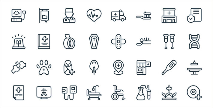 medical items line icons. linear set. quality vector line set such as opthalmologist, medical lab, hospital bed, medical prescription, thermometer, pediatrics, dna, bandage, handbook.