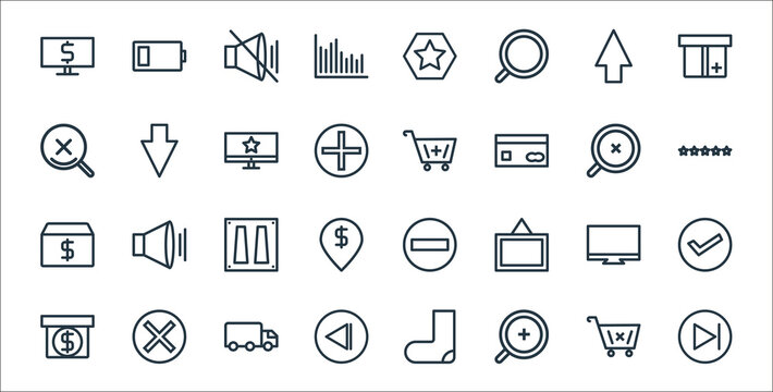 marketing business line icons. linear set. quality vector line set such as skip, zooming, back, package, monitor, power switch, rating, add cart, down.