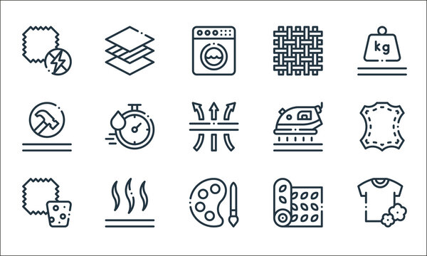 fabric features line icons. linear set. quality vector line set such as fabric, colour, cork, decorative textile, silk, durable, iron, woven, membrane.