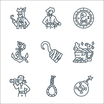 pirate line icons. linear set. quality vector line set such as bomb, rope, pirate, treasure, hook, anchor, coin, sailor.