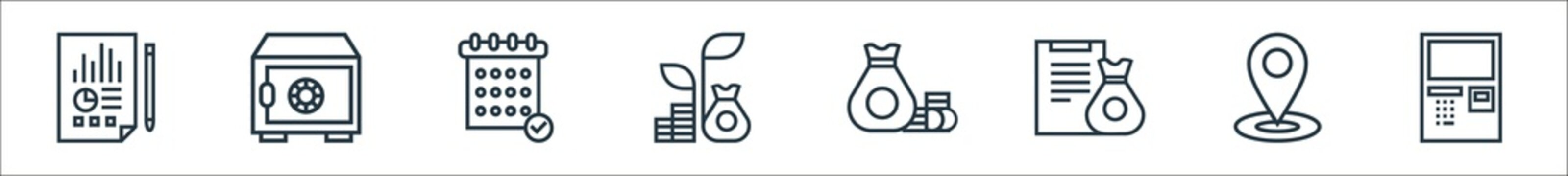 banking line icons. linear set. quality vector line set such as atm, location, financial, investing, growing, planing, save.