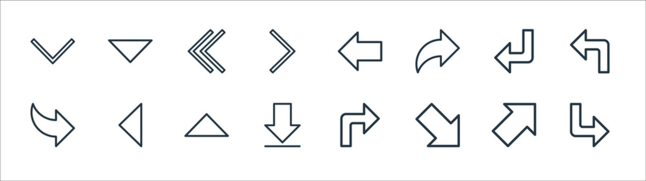 arrow line icons. linear set. quality vector line set such as down right arrow, down right arrow, downward down right left back arrows, left, downward.
