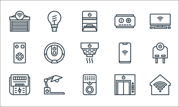 smarthome line icons. linear set. quality vector line set such as smarthome, doorbell, power meter, lift, desk lamp, smarthome, smartphone, power switch, smart bulb.