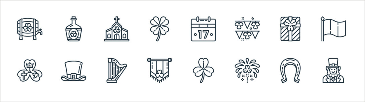 st patricks day line icons. linear set. quality vector line set such as leprechaun, fireworks, pint, shamrock, gift, church, st patricks day, whiskey.