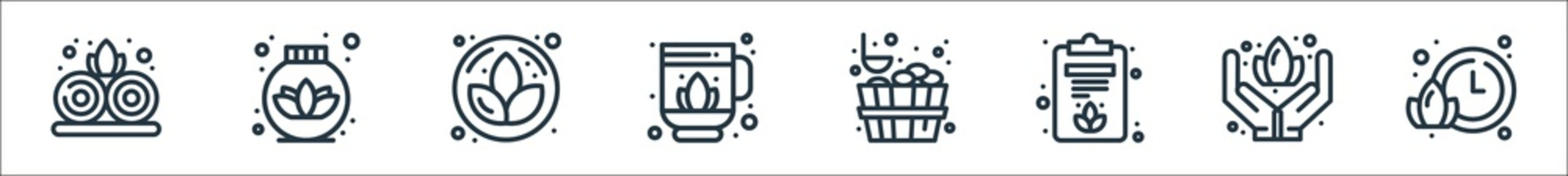 sauna line icons. linear set. quality vector line set such as time, care, clipboard, sauna, drink, lotus, lotus.