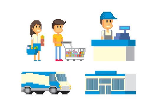 Hypermarket collection, seller, merchandiser, checkout, showcase, goods, transport. Pixel art. Old school computer graphic. 8 bit video game. Game assets 8-bit sprite. 16-bit.