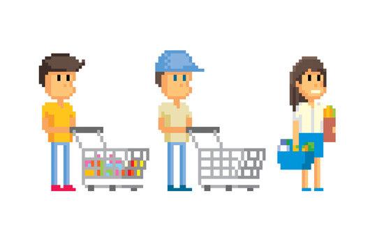 Customers in the hypermarket. Pixel art. Old school computer graphic. 8 bit video game. Game assets 8-bit sprite. 16-bit.