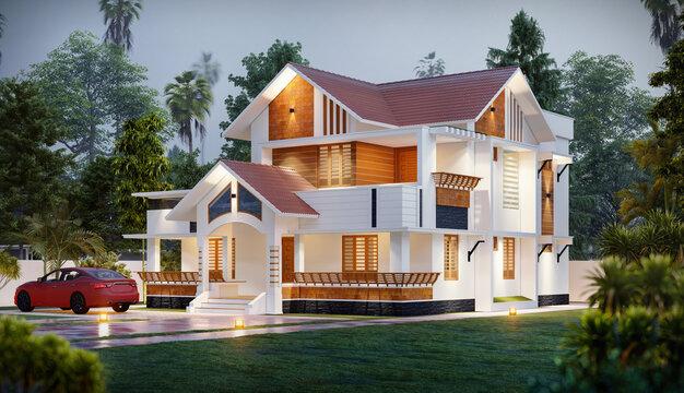 3D DIGITAL ILLUSTRATION OF A HOUSE ELEVATION