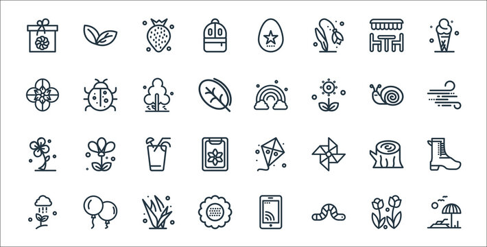 spring line icons. linear set. quality vector line set such as beach, worm, flora, cloud, wooden, orange juice, blow, rainbow, ladybug.